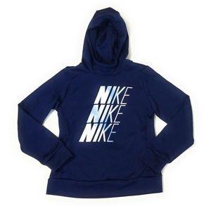 NIKE Youth Girls Navy Blue Hoodie Sweatshirt M